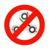 Signe d'interdiction avec le jouet Antistress de fileur de doigt de personne remuante 3D r Image stock