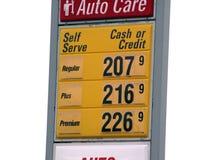 Signe d'isolement de prix du gaz Photographie stock libre de droits
