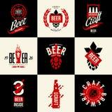 Signe d'isolement moderne de logo de vecteur de boissons de bière de métier pour la barre, le bar, la brasserie ou la brasserie Photographie stock