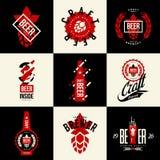 Signe d'isolement moderne de logo de vecteur de boissons de bière de métier pour la barre, le bar, la brasserie ou la brasserie Images libres de droits