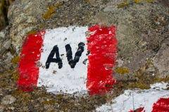 Signe d'itinéraire de montagne photos libres de droits