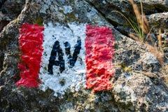 Signe d'itinéraire de montagne photo libre de droits