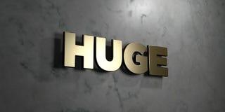 - Signe d'or monté sur le mur de marbre brillant - 3D énorme a rendu l'illustration courante gratuite de redevance illustration stock