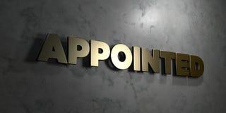 - Signe d'or monté sur le mur de marbre brillant - 3D désigné a rendu l'illustration courante gratuite de redevance Photographie stock libre de droits