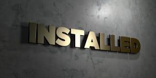 - Signe d'or monté sur le mur de marbre brillant - 3D installé a rendu l'illustration courante gratuite de redevance illustration de vecteur