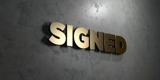 - Signe d'or monté sur le mur de marbre brillant - 3D signé a rendu l'illustration courante gratuite de redevance Photographie stock