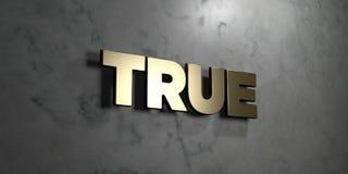 - Signe d'or monté sur le mur de marbre brillant - 3D vrai a rendu l'illustration courante gratuite de redevance Images libres de droits
