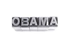 Signe d'Obama, type antique de lettre en métal Images stock