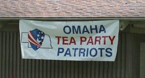 Signe d'Omaha Tea Party Patriots au rassemblement de thé Image stock