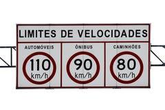 Signe d'omnibus de limitation de vitesse Photographie stock