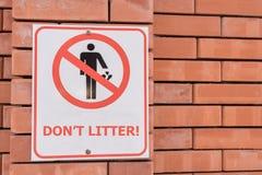 Signe d'ordures du ` t de Don Image libre de droits