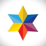 Signe d'étoile ou symbole coloré abstrait (icône) - vecto Photo stock