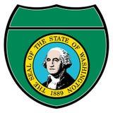 Signe d'un état à un autre de Washington State Flag In An Photographie stock libre de droits
