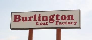 Signe d'usine de manteau de Burlington Image libre de droits
