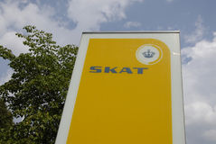 SIGNE DANOIS D'IMPOSITION DE SKAT Images stock