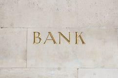 Signe de banque d'or Photographie stock libre de droits