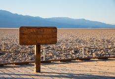 Signe de bassin de Badwater Photos libres de droits