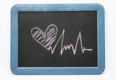 Signe de battement de coeur, coeur d'amour sur un tableau Photo libre de droits