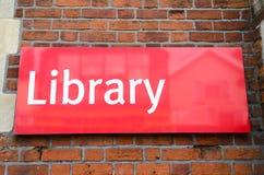 Signe de bibliothèque Photographie stock libre de droits