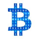 Signe de Bitcoin avec le code binaire d'isolement Photo stock