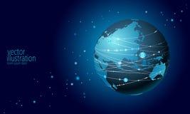 Signe de bitcoin de cryptocurrency de la terre de planète Exploitation en ligne de communication de réseau Internet Finances glob illustration de vecteur