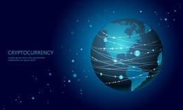 Signe de bitcoin de cryptocurrency de la terre de planète Exploitation en ligne de communication de réseau Internet Finances glob illustration stock