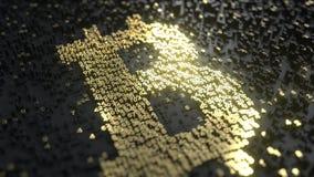 Signe de Bitcoin fait de nombres d'or Rendu 3d conceptuel Images libres de droits