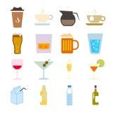 Signe de boissons et ensemble d'icône de symbole Photographie stock