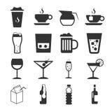 Signe de boissons et ensemble d'icône de symbole Photo libre de droits