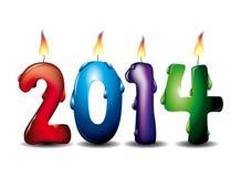 signe de 2014 bougies Photos stock