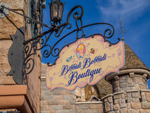 Signe de boutique de Bibbidi Bobbidi, Fantasyland Image stock