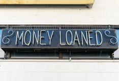 Signe de boutique de prêteur sur gages Photographie stock libre de droits