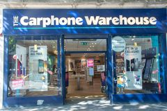 Signe de boutique pour Carphone Warehouse photographie stock libre de droits