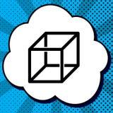 Signe de câble de cube avec les nervures visisble Vecteur Icône noire dans la bulle illustration de vecteur