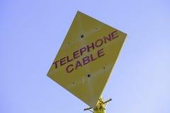 Signe de câble téléphonique Photographie stock