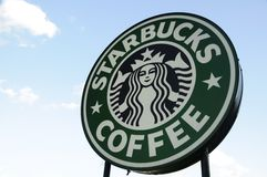 Signe de café de Starbucks Photos stock
