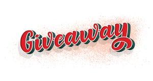 Signe de calligraphie de don Illustration de cru de style de graffiti Image de concours de promotion d'annonce Gagnez le cadeau p illustration stock