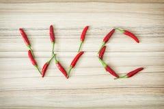 Signe de carte de travail de poivrons de piment Photographie stock