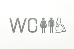 Signe de carte de travail des toilettes publiques image stock