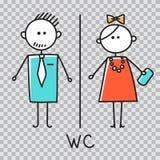 Signe de carte de travail Icône de plat de porte de toilette Plat de salle de bains La carte de travail d'hommes et de femmes sig illustration stock
