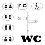 Signe de carte de travail pour des toilettes Ic?nes de plat de porte de toilette illustration de vecteur