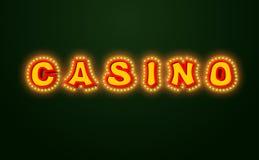Signe de casino avec les lumières rougeoyantes Rétro plat d'ampoule cru Photo stock