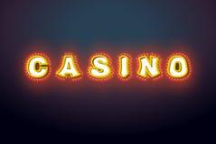 Signe de casino avec les lumières rougeoyantes Rétro plat d'ampoule cru Image stock