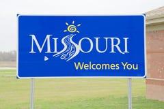 Signe de centre d'accueil du Missouri photos libres de droits