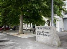 Signe de centre de ville de Greytown, Wairarapa, Nouvelle-Zélande Images stock