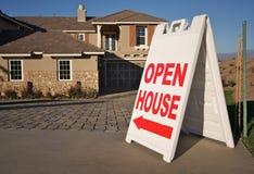 Signe de Chambre ouverte et maison neuve Photo libre de droits