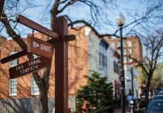 Signe de chemin de halage de canal de C&O dans le Washington DC de Georgetown Photos libres de droits