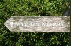 Signe de chemin du mur de Hadrian Images stock