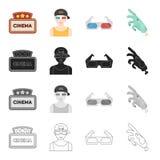 Signe de cinéma, visionneuse, 3D verres, effets spéciaux, main mécanique Les icônes réglées de collection de film et de cinéma da Photos libres de droits