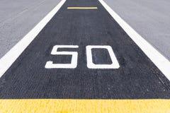 Signe de cinquante mètres Photographie stock libre de droits